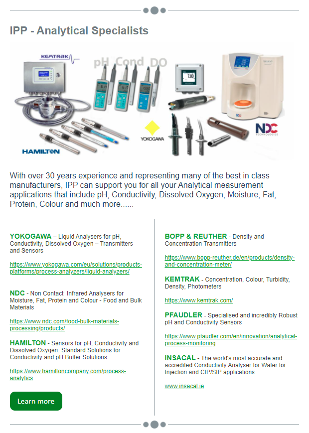 Analytical Specialists, pH, Conductivity, Dissolved Oxygen, Moisture, Fat, Protein, Colour